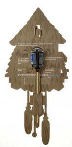 Pappuhr mit Pendeluhrwerk – Rückansicht